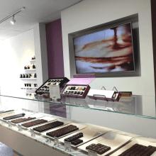 Chocolate store interior makes the chocolates the star